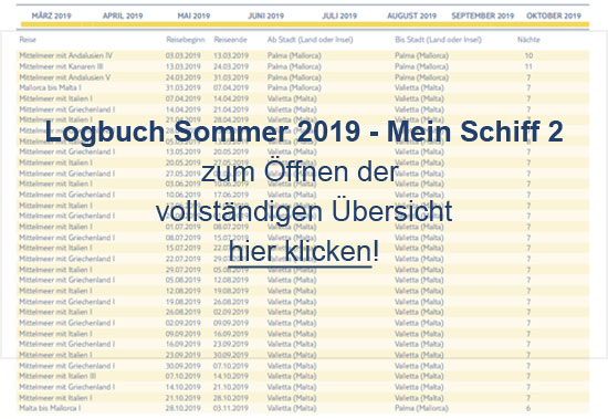 Logbuch Sommer 2019 - <i> Mein Schiff 2</i>