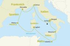 Italien, Frankreich, Spanien, Malta Hotel-Kombi